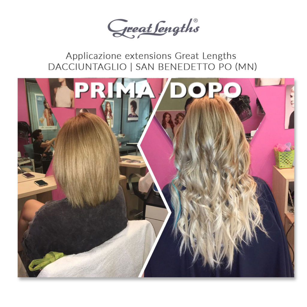 Prima e dopo applicazione extensions Great Lengths