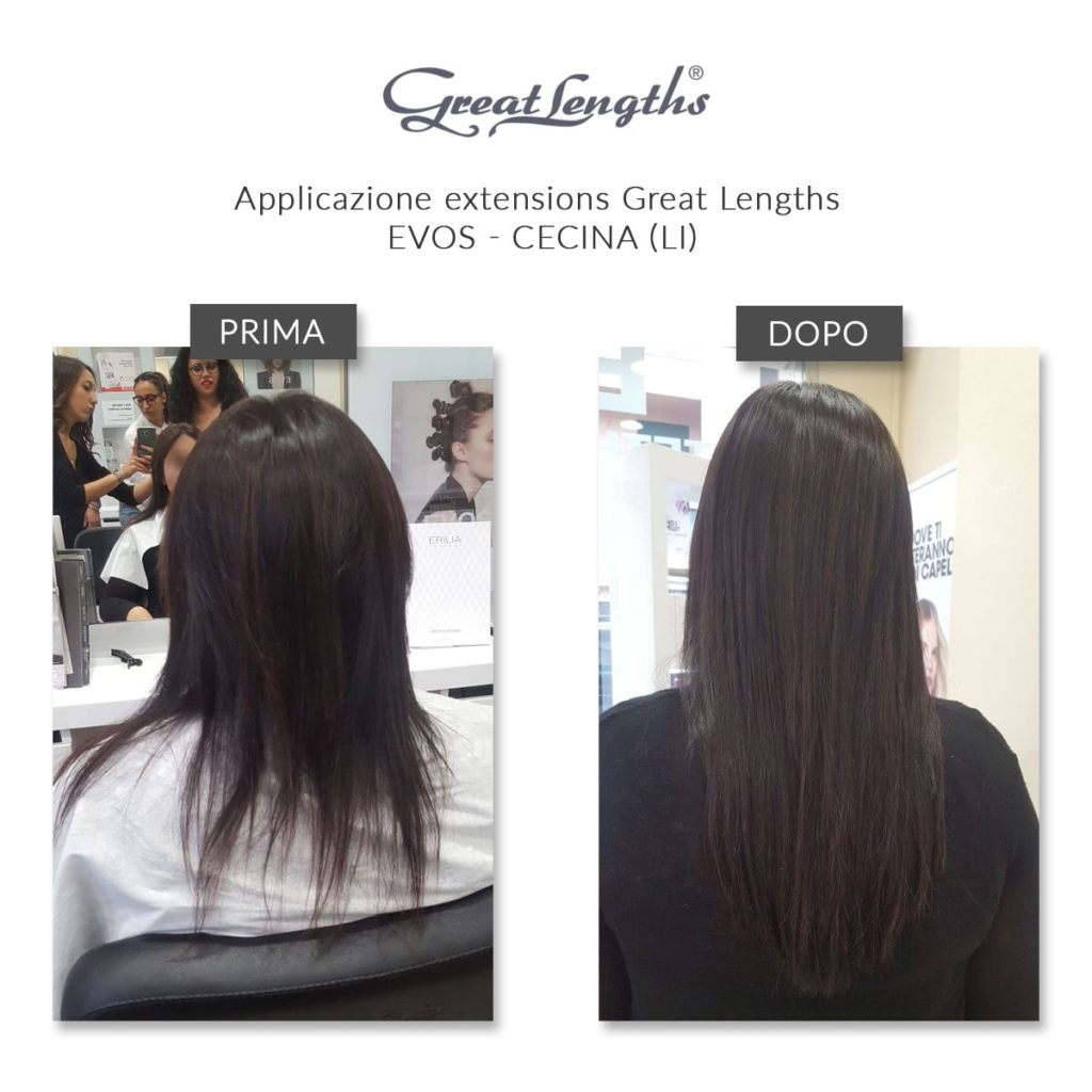 Prima e Dopo Applicazione Extensions Great Lengths Evos Cecina